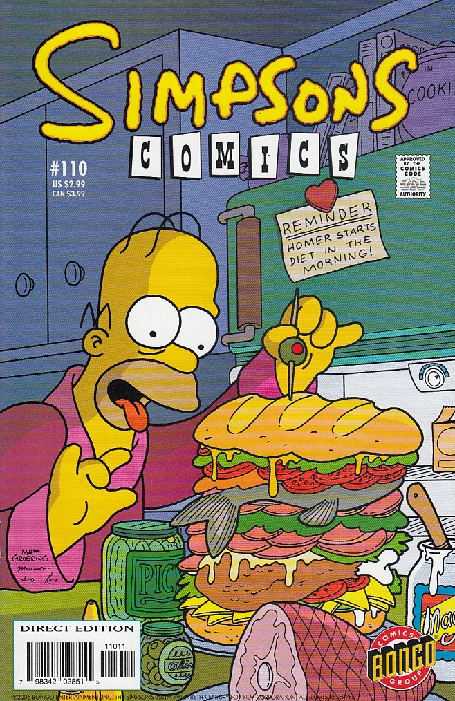 simpsons comics  110  collector's edge comics